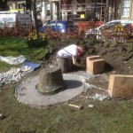 Fitting the bench and constructing the stone mosaic setting