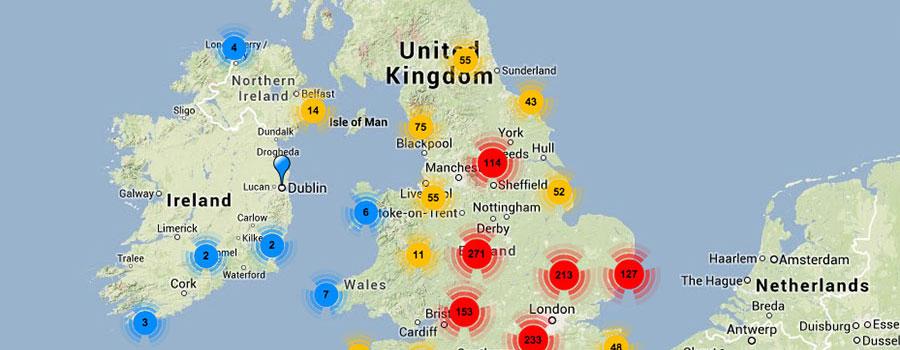 British sundial map
