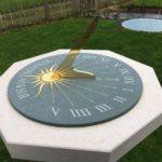 A horizontal garden sundial